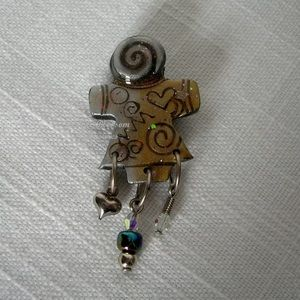 Handcrafted Abstract Girl Swirl & Beads Pin Brooch